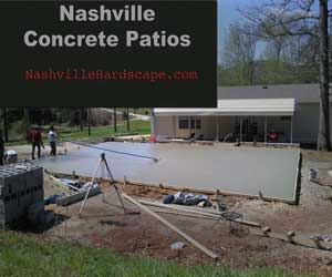 Nashville Concrete Patio, This image shows a Concrete Patio being poured and formed.
