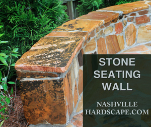 Nashville Stone Wall Seating Bench, This is a bench around a firepit in Franklin Tn made for seating and it is made of natural stone.