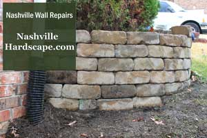This is a photo of a repaired retaining wall. We service the Nashville area.