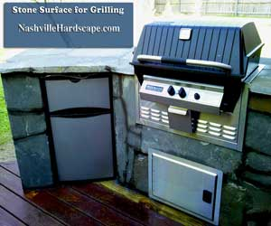 This is an image of an outdoor grill made with natural stone. Nashville Stone Grill.