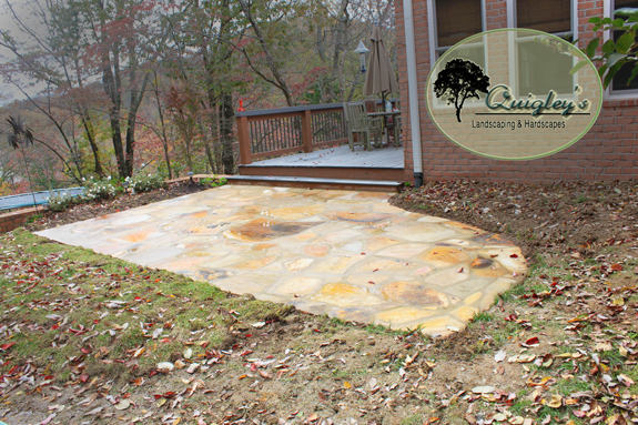 This is the after image where the stone patio is complete we built in Brentwood Tennessee.