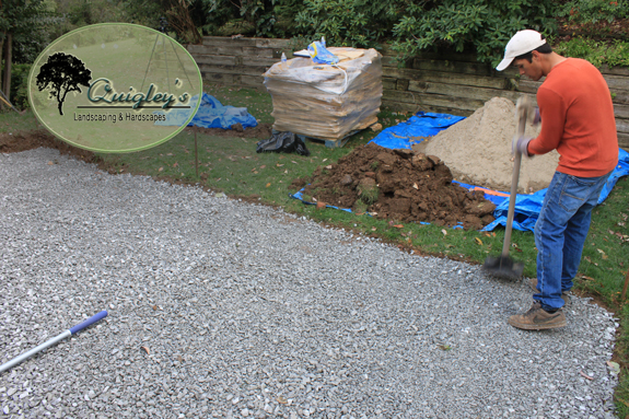 Gravel is being compacted for a flagstone patio being made in brentwood Tn.