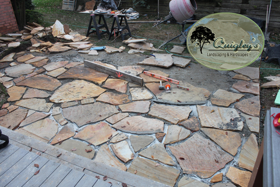 We are grouting the flagstone in this image for a patio we made in Brentwood Tennessee.