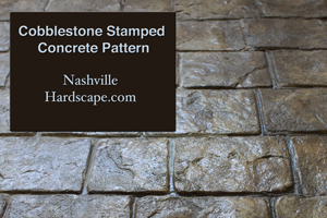 Nashville Cobblestone Stamped Concrete with Glossy finish sealed Dyed Patio