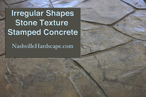 Irregular shaped stone stamped concrete gray brown with sealer and dye