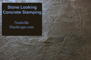 Nashville Stone Looking  Stamped finished Brown and Gray concrete with dye and sealer